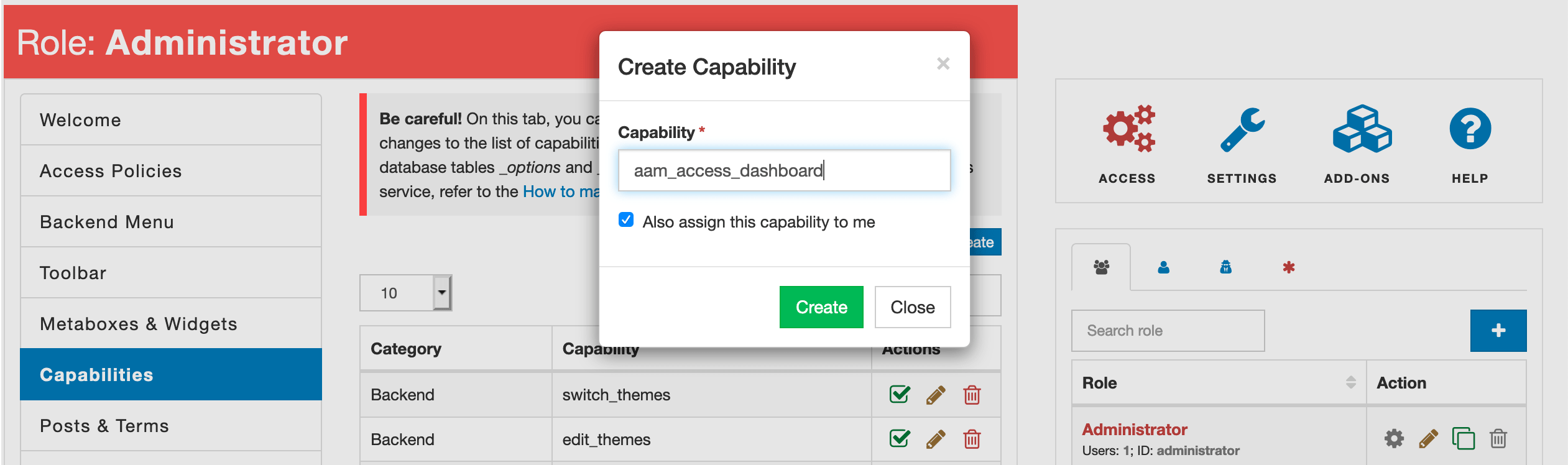 WordPress create custom capability