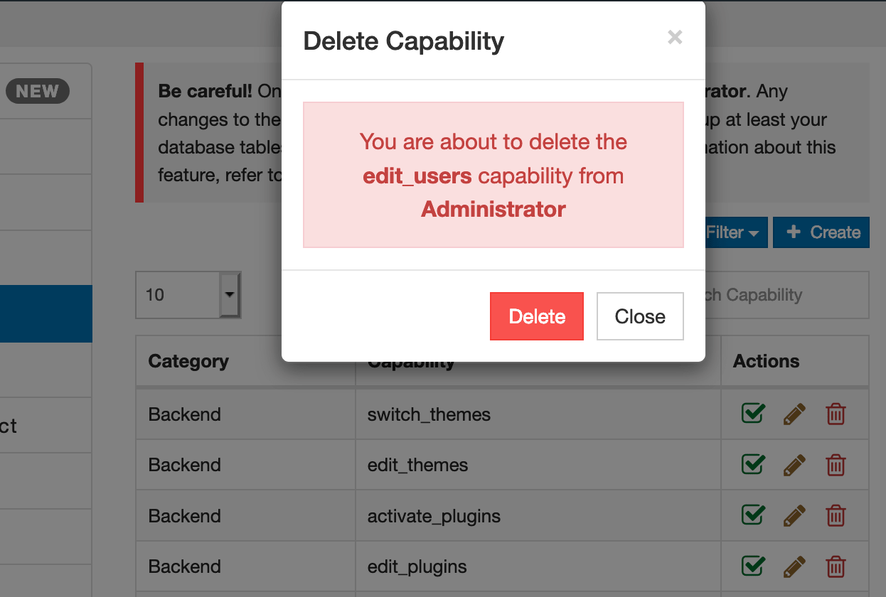 WordPress Delete Capability