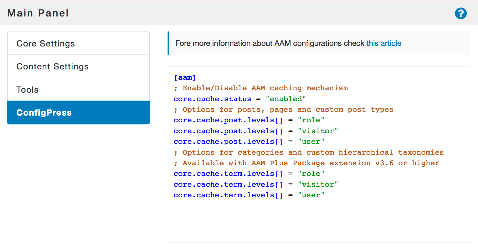 AAM Cache Options