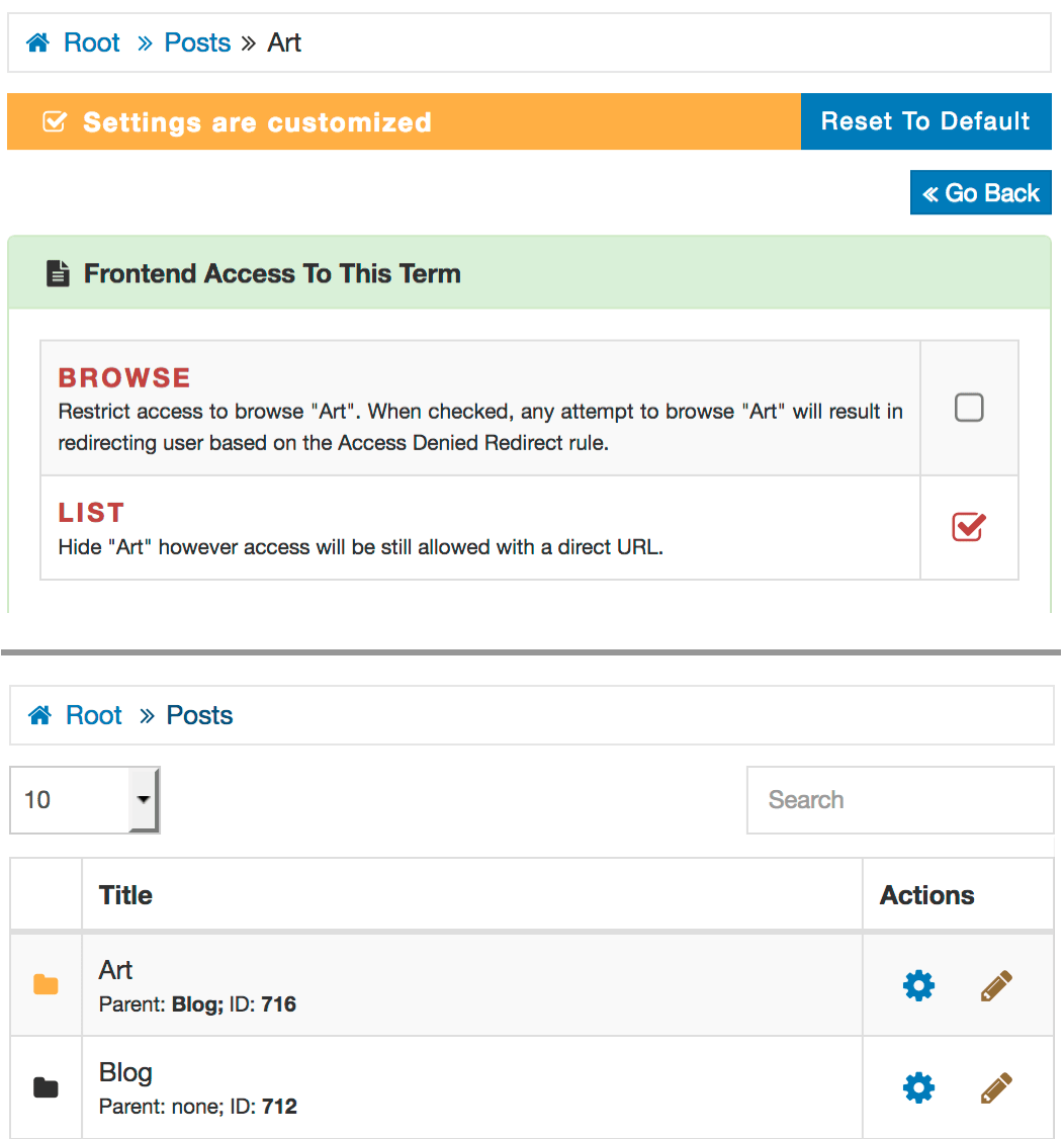 AAM customized WordPress access settings