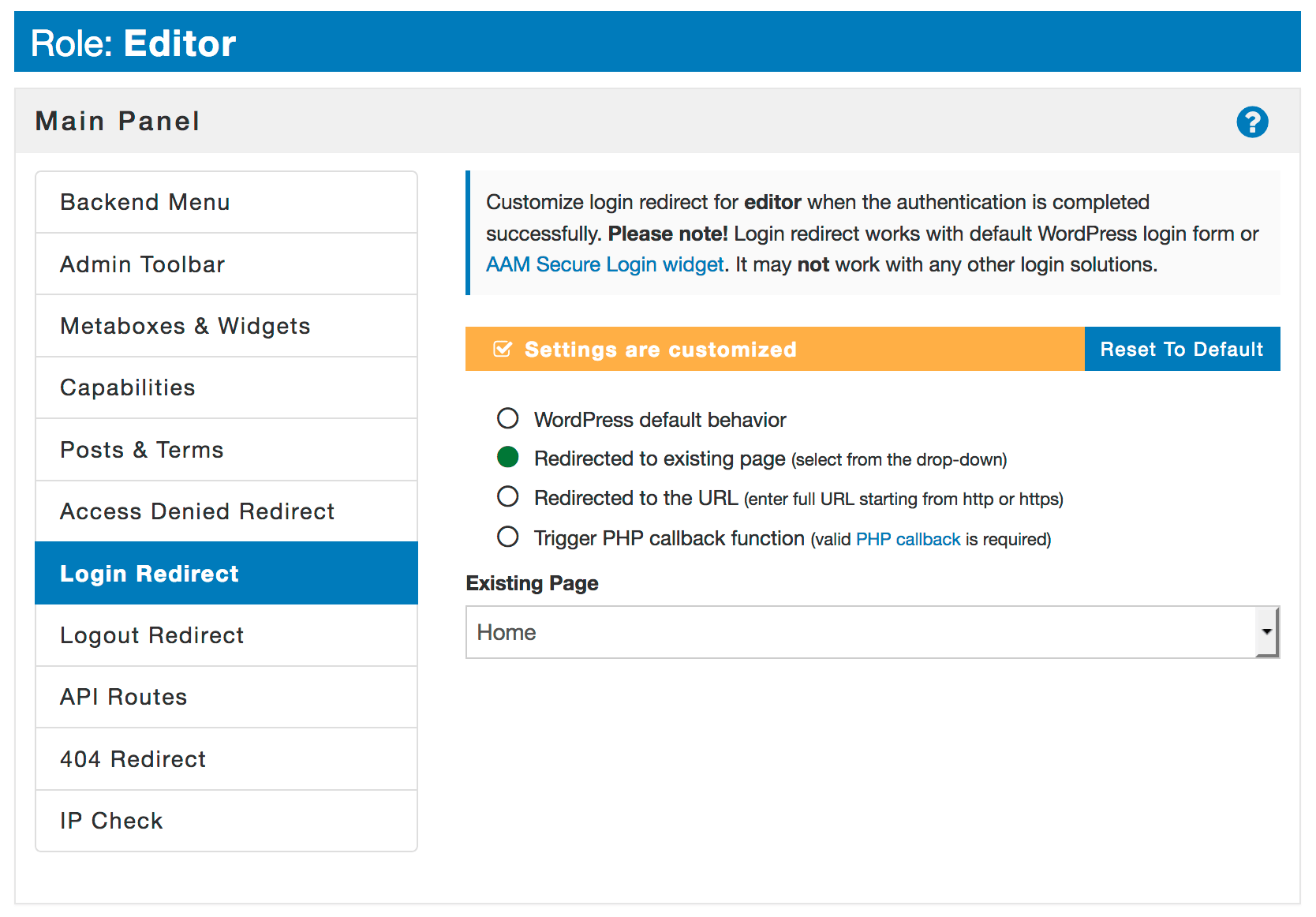 WordPress redirect user to home page