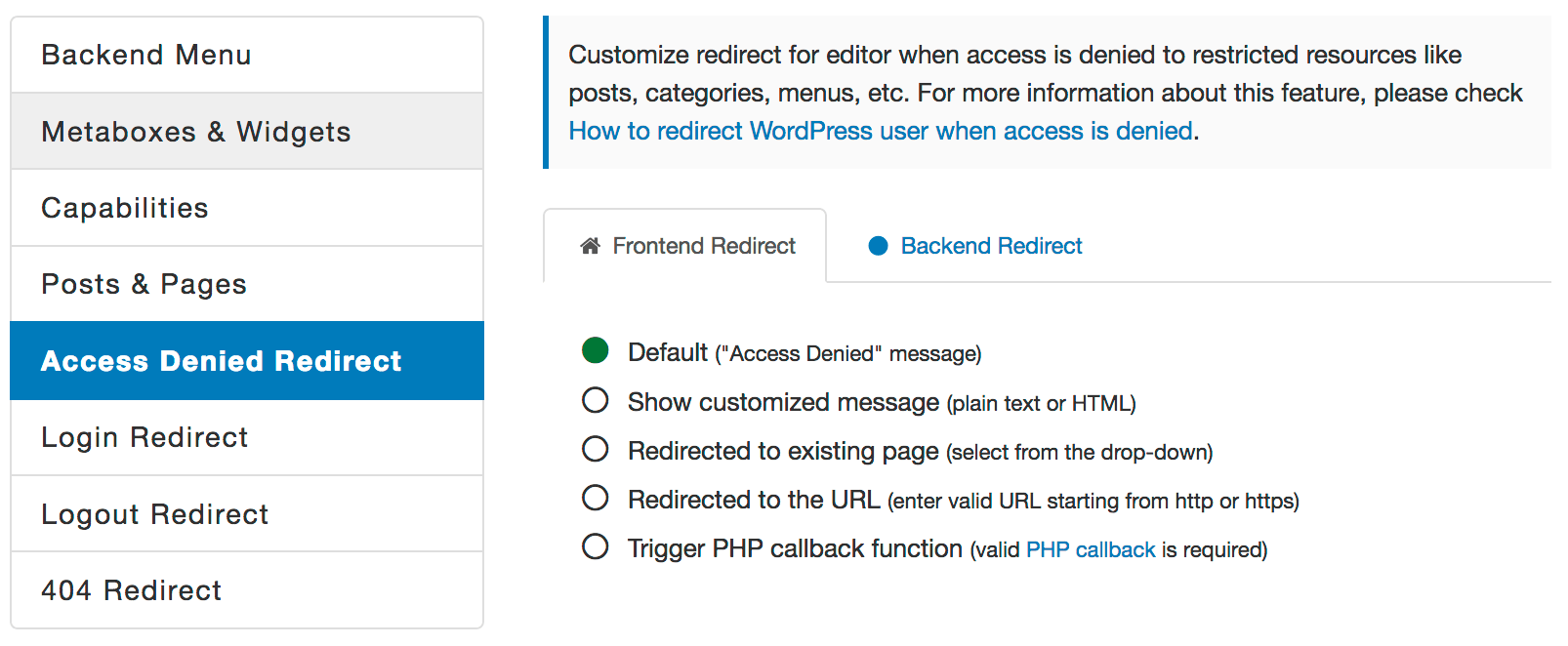 WordPress Access Denied Redirect