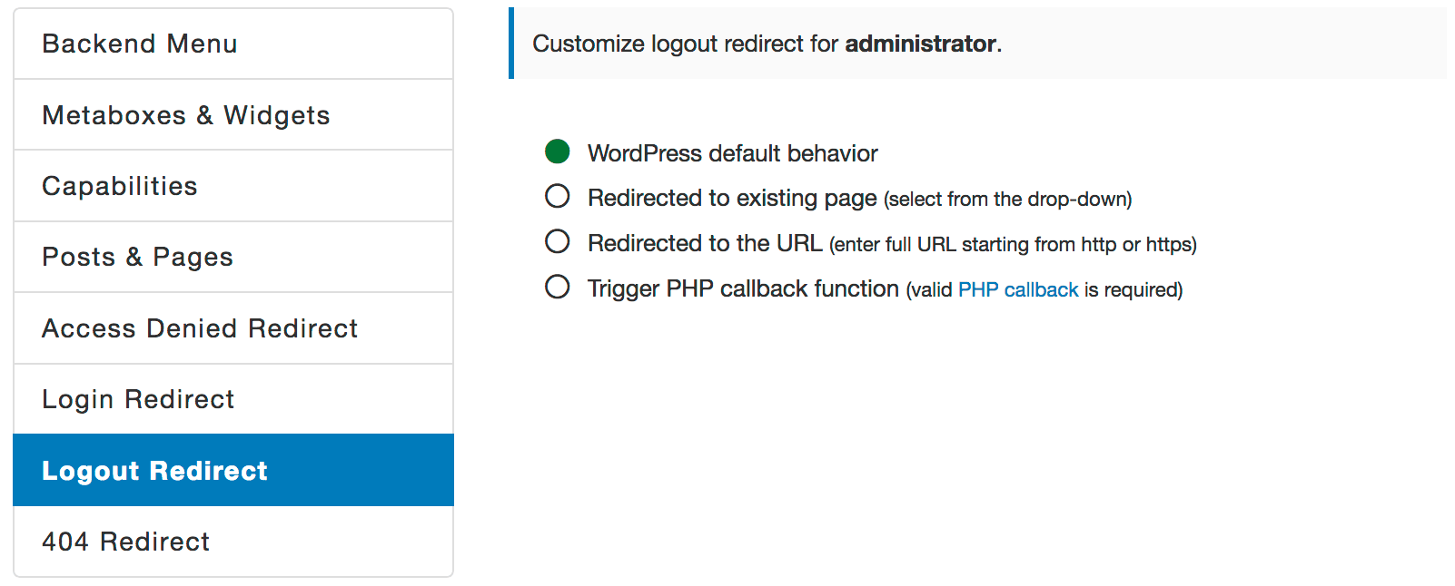 WordPress Logout Redirect
