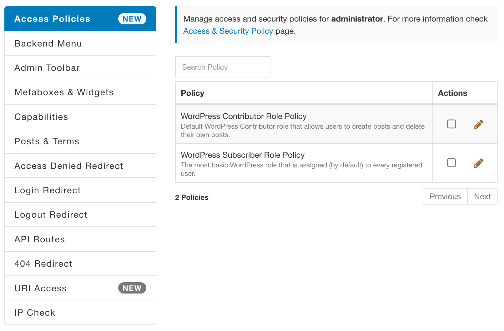 AAM Policy Feature Tab