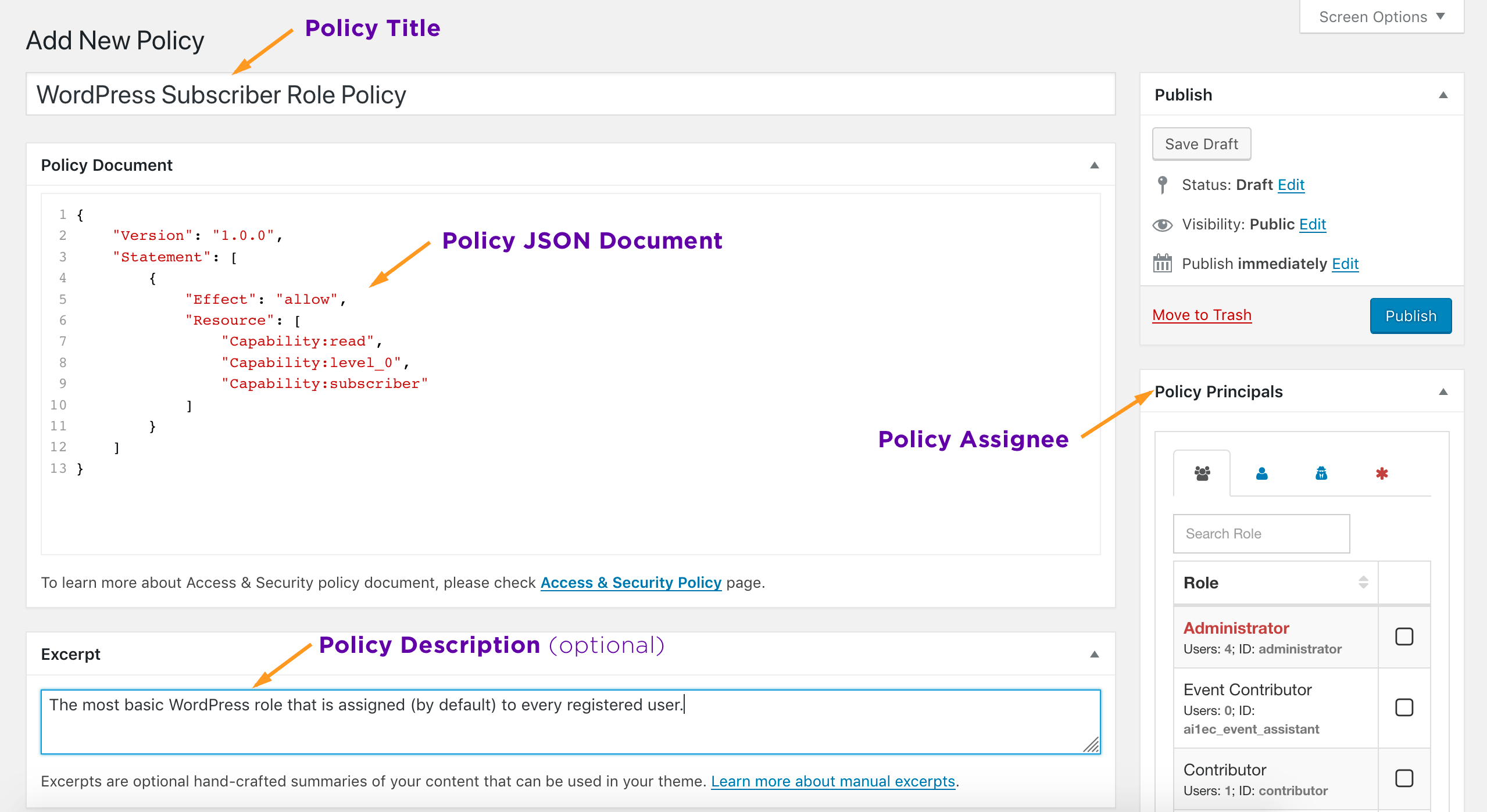 AAM Edit Policy Screen